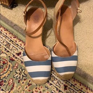 Blue white striped wedge sandal